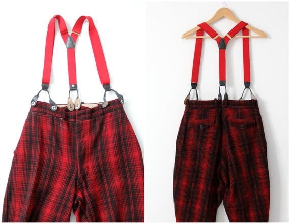 vintage 40s Woolrich hunting pants, red wool plai… - image 3