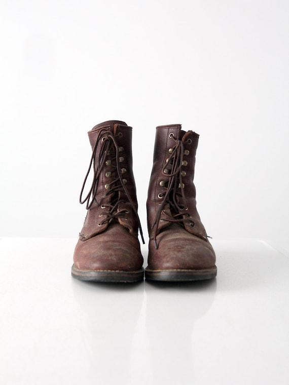 Vintage lace up work boots men's