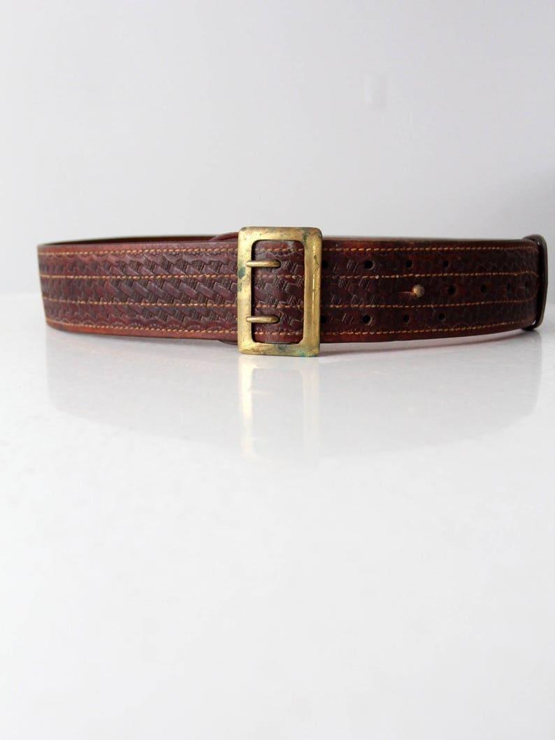 leather utility belt vintage leather Bucheimer Clark belt
