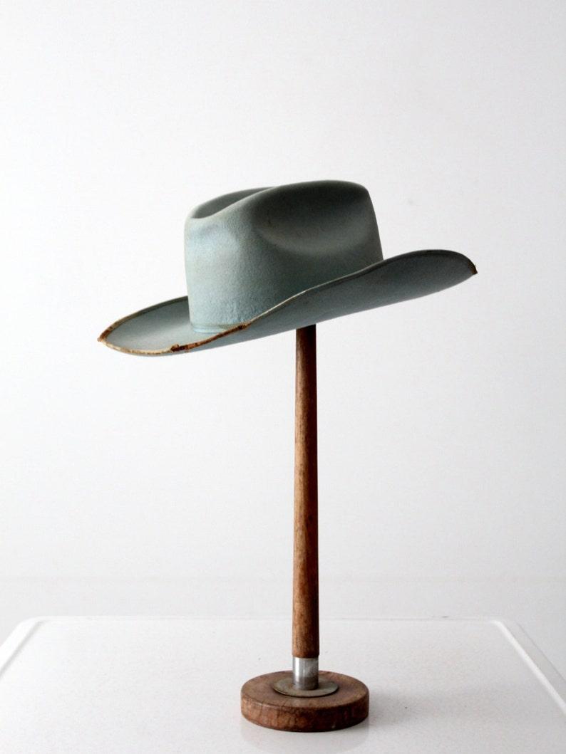2758335657b 1950s Always on Top cowboy hat vintage distressed blue