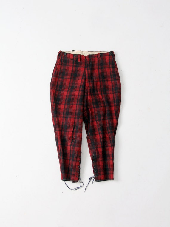 1930s plaid wool pants, red lumberjack or hunting
