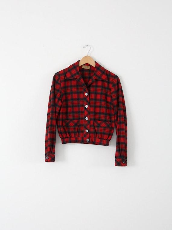 """vintage 1950s plaid jacket,  Bobbie Brooks """"Calgar"""