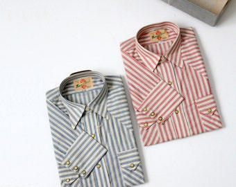 1950s Thunderbird western shirts,  2 men's shirts,  new old stock