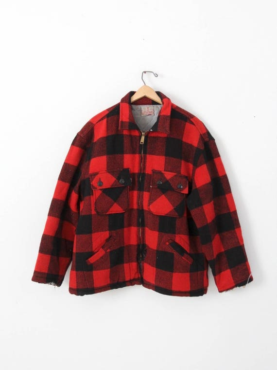 vintage plaid jacket by Brother, red and black pla