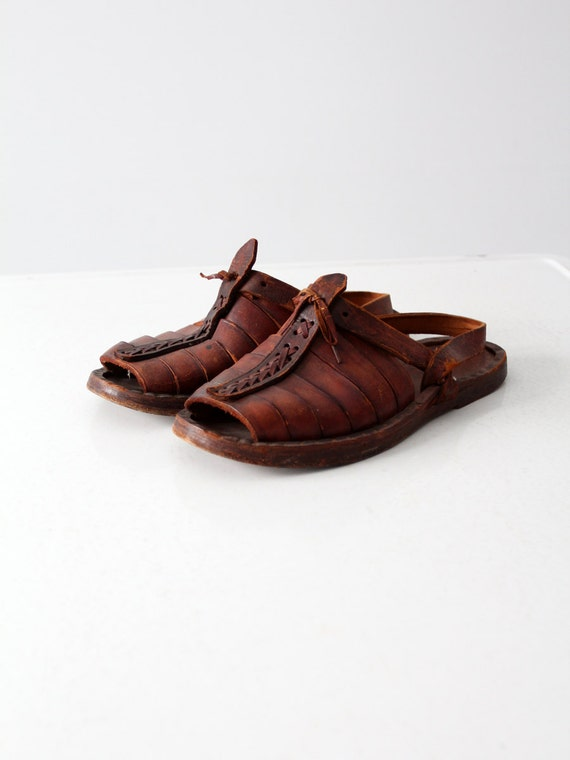 vintage leather sandals,  1970s men's huaraches si