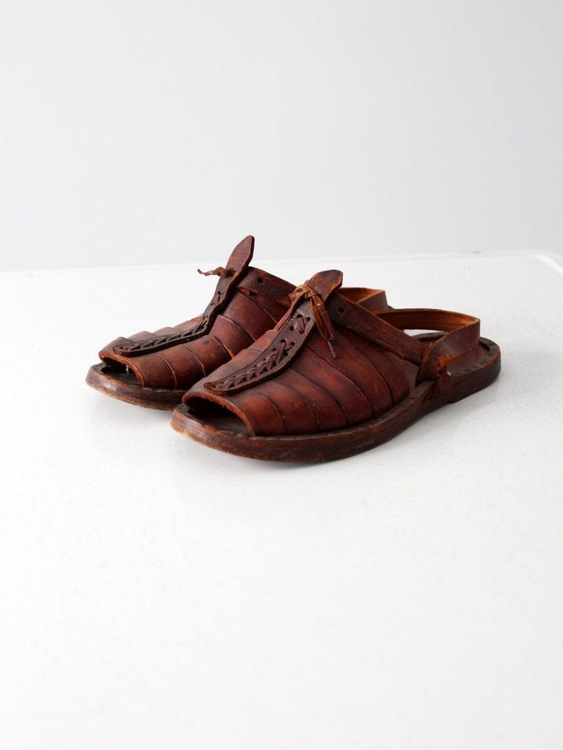 c31e7330ec156 vintage leather sandals, 1970s men's huaraches size 10