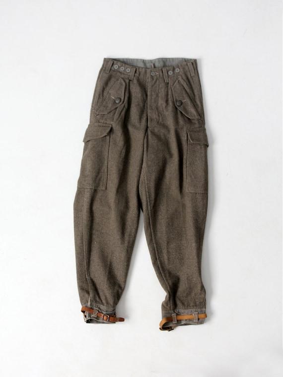WWII Swedish army trousers, 1940s wool pants, wais