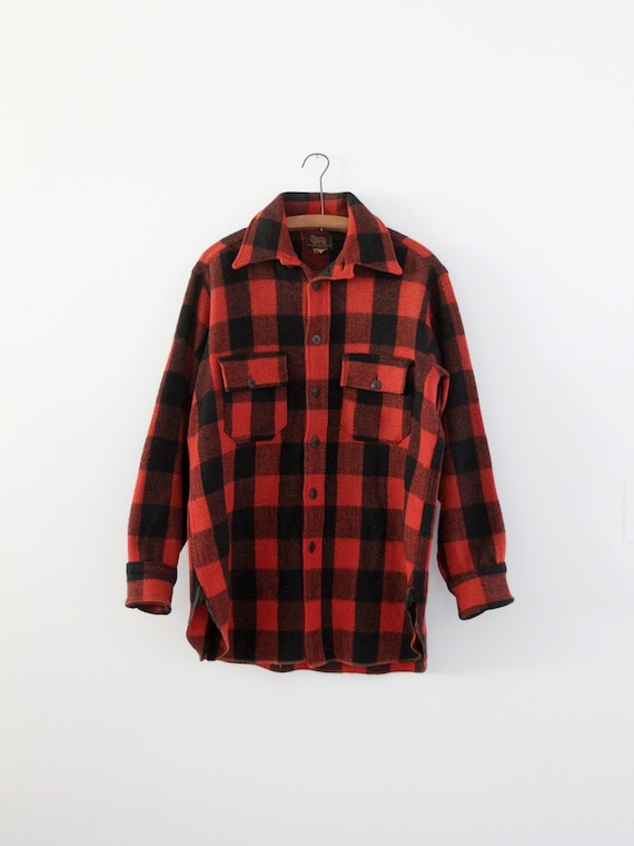 vintage 1940s Woolrich shirt,  red plaid jacket - image 1