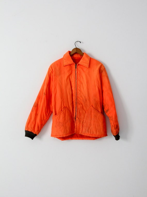 vintage hunting jacket, orange nylon coat