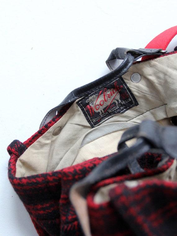 vintage 40s Woolrich hunting pants, red wool plai… - image 5