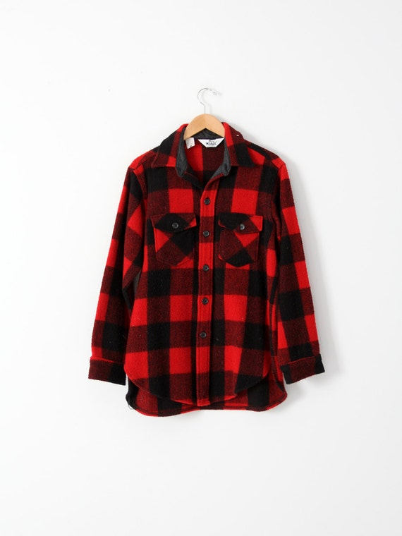 vintage 70s Woolrich plaid shirt jac, thick wool b
