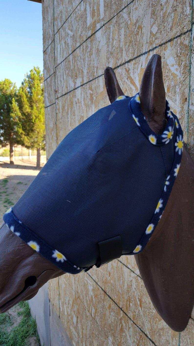 Navy Blue mesh #355 trim Custom Horse Fly Mask Size Medium
