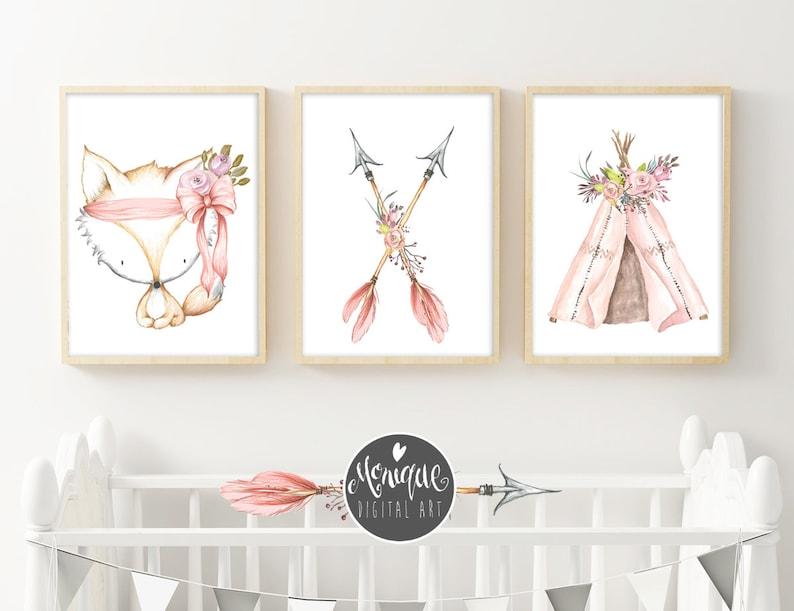 Watercolor Printable art Pink Teepee Art Print Fox Set of 3 Girls Nursery Art Teepee arrows flowers printable art hand painted