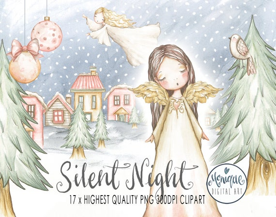 Christmas Angels.Christmas Angels Clipart Watercolor Christmas Tree Little Houses Christmas Scene Snow Bird Planner Clipart Hand Painted Monique Digital Art