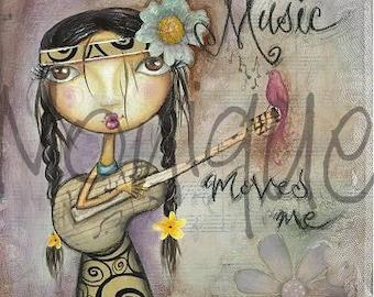 hippie girl art, boho girl print, music, guitar, flowers, mixed media