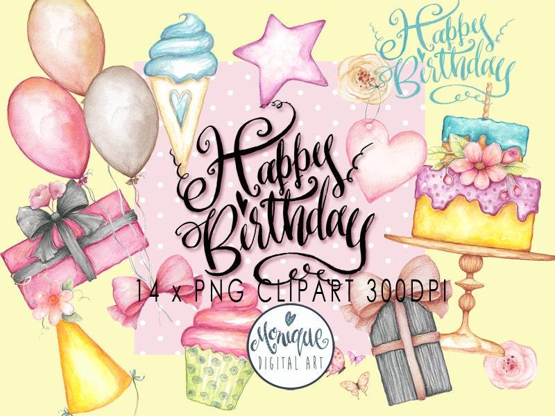 Birthday Party Clipart Invitation Watercolor Printable Instant Download Planner Stickersplanner Girlcute Birthdayballoonscake