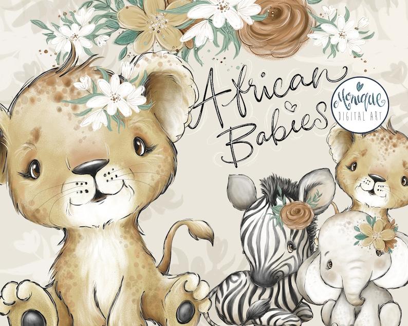Afrikaanse Dieren Clipart Leeuw Olifant zebra De dieren image 0