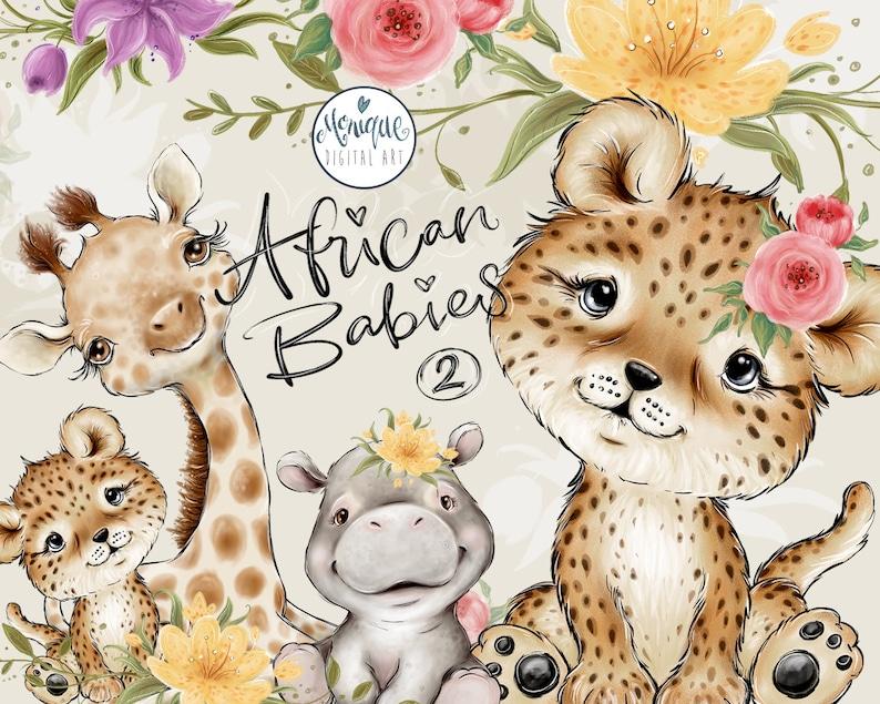 Afrikaanse Dieren Clipart Giraffe Hippo Leopard Baby image 0