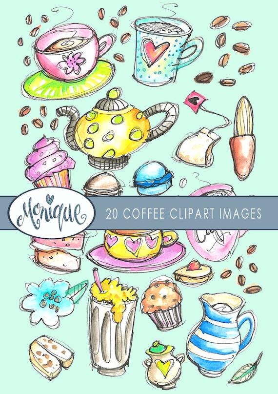 Kaffee Kuchen Clipart Aquarell Sticker Planer Madchen Etsy