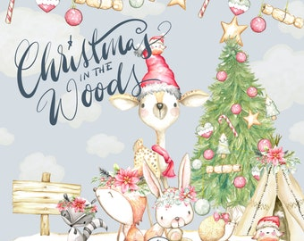 Christmas Woodland Animals Clipart Watercolor, Christmas woodland Clipart, deer clipart, raccoon, Cristmas forest, Christmas animals clipart