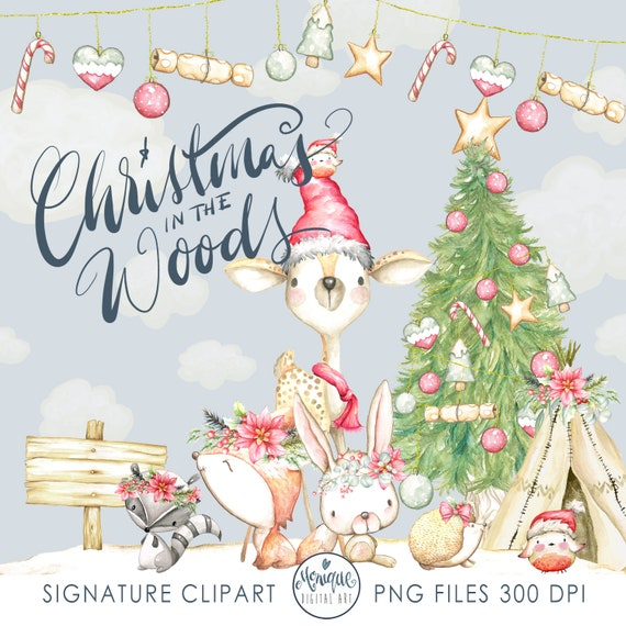 Christmas Woodland Animals Clipart Watercolor Christmas Woodland Clipart Deer Clipart Raccoon Cristmas Forest Christmas Animals Clipart