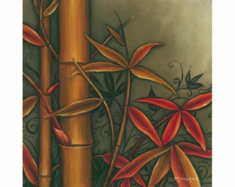 Red Bamboo, hand painted