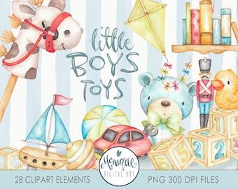 Boys Toys Clipart, watercolor toys, boys nursery, Boy Clipart, toys illustration, baby boy art, toy soldier, blue teddy, building blocks