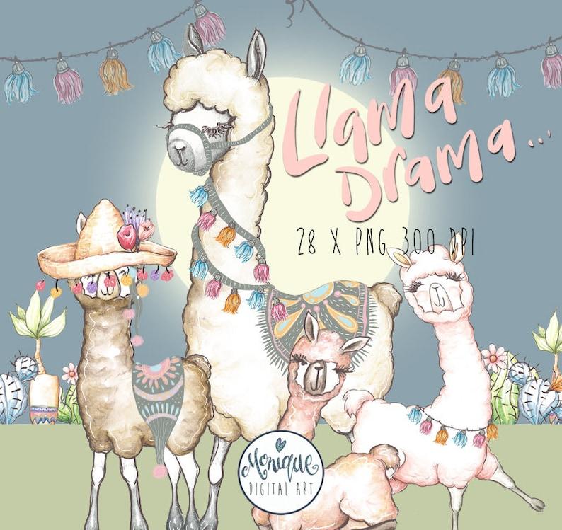Llama Clipart WatercolorCute LlamaAlpaca ClipartLlama Clip ...
