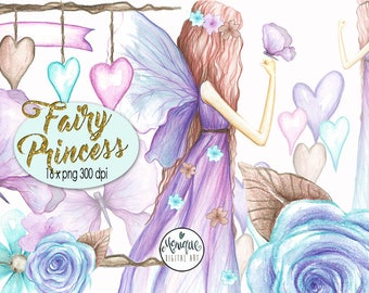 Fairy Clipart,Fashion Clipart Illustration,Watercolor,Floral Wreath,Butterfly,Hand Drawn,Graphics,Planner Stickers,Planner Girl,Hearts