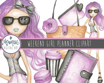Fashion Girl Clipart Weekend Illustration, Watercolor, fashion blogger, fashion planner girl, planner stickers, planner girl