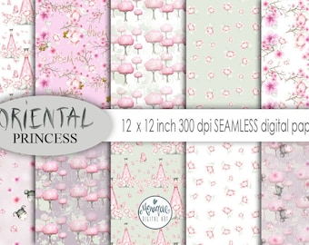 Oriental Princess,Digital Paper,Seamless Paper,Pattern Paper,Cherry Blossom,Planner Stickers,Kawaii Background,Planner Girl,Planner paper