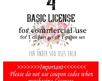 4 Commercial Licenses for four sets of clipart or digital papers. No Coupon Codes Please.