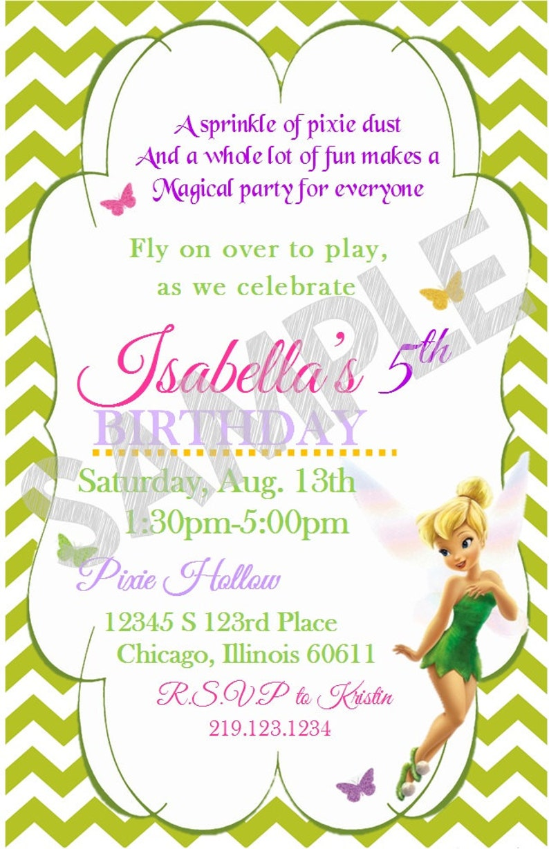Tinkerbell Invitation Printable Tinkerbell Birthday Tinkerbell Party Invite Card Digital Customized Download