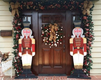 nutcracker soldier handpainted wooden soldier for indooroutdoor life size nutcracker entry way holiday decor christmas tradition decor - Christmas Decorations Wooden Soldiers