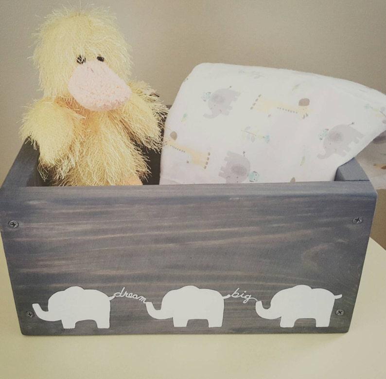 Elephant Nursery Decor Unisex Baby Gift Box Diaper Wipe Caddy Dream Big Babys Room Keepsake Hand Painted Wooden Box Gray Gender Neutral