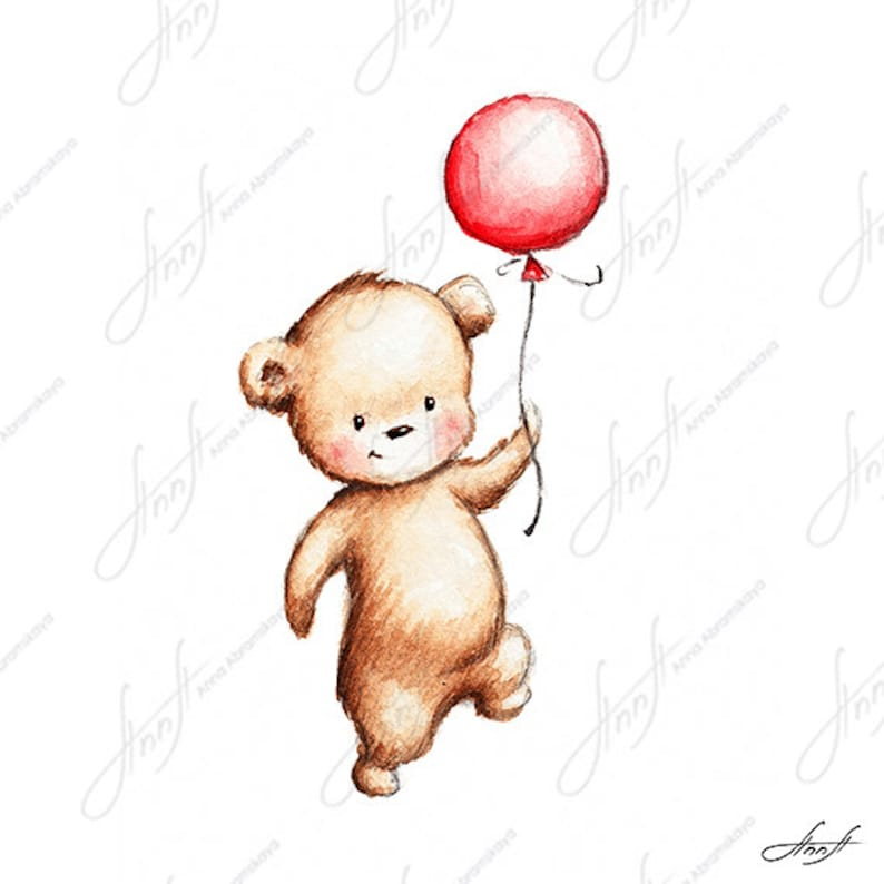 The Drawing Of Cute Teddy Bear With Red Balloon Printable Art Digital File Instant Download