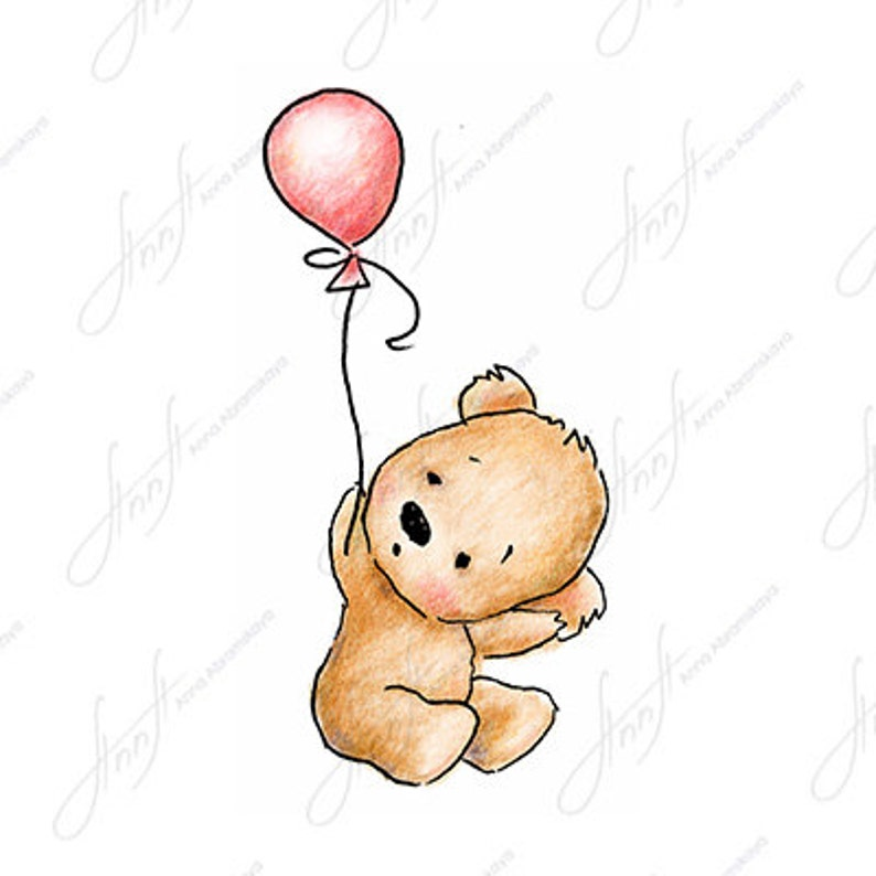 The Drawing Of Cute Teddy Bear With Pink Balloon Printable Art Digital File Instant Download