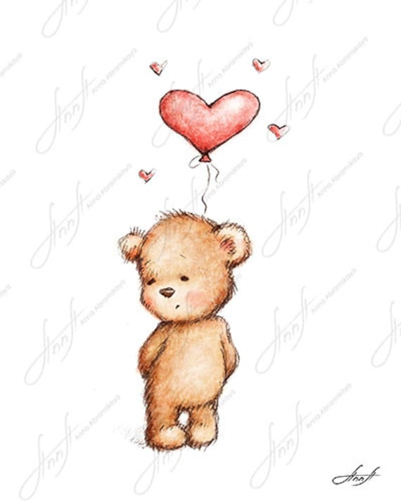 The Drawing Of Cute Teddy Bear With The Red Heart Balloon Printable Art Digital File Instant Download