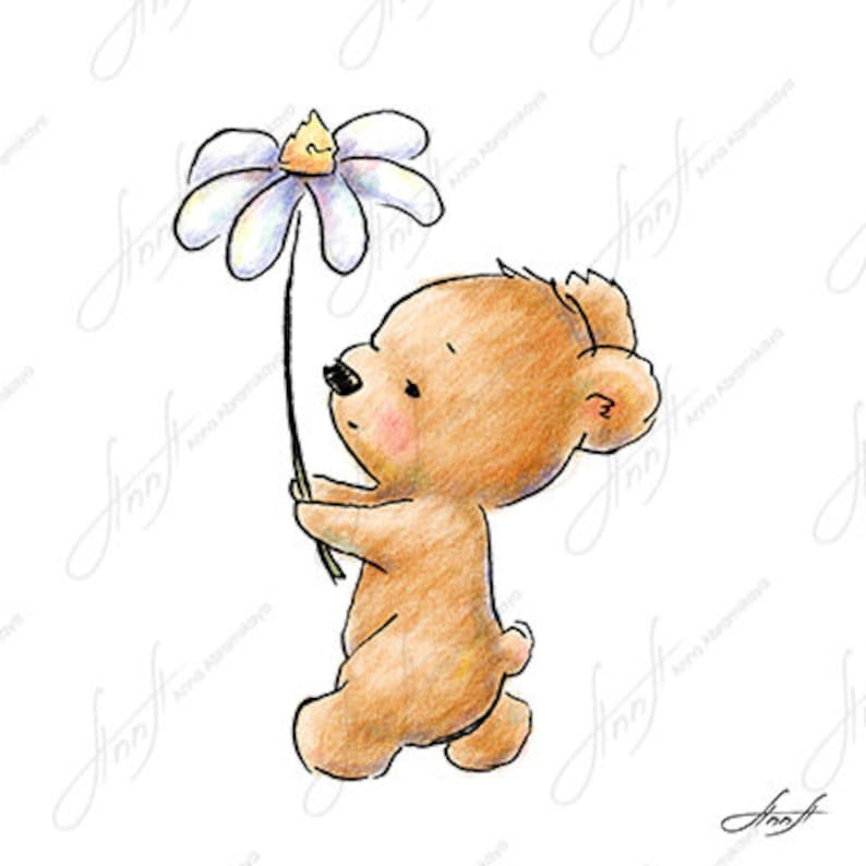 The Drawing Of Cute Teddy Bear Walking With A Huge Daisy Etsy