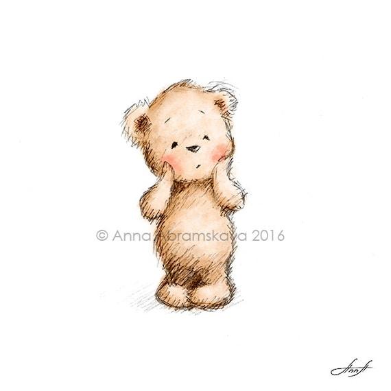 surprised teddy bear printable art nursery decor kids etsy
