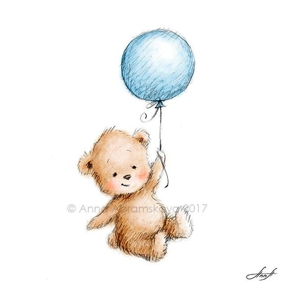 Watercolor And Pencil Drawing Of Teddy Bear With Balloon Nursery Wall Art Childrens Illustration Kids Room Decoration Greeting Card