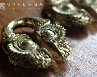 EAR WEIGHTS, owl earings, bali, ear weights, ear guages, stretched ears, tribal piercings, tribal weights, tribal tunnels , tribal plugs,