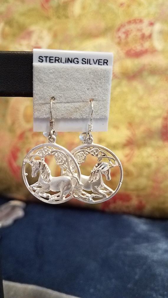 Sterling Silver Unicorn Earrings