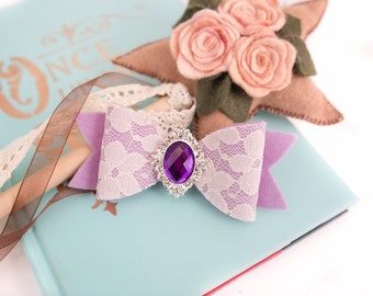Lilac Colour Deer Felt Hair Clip With Flower And Sparkle Detail