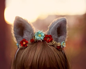 Wolf Woodland Headband with moss and flowers in your choice of colors, halloween costume, dress up wolf, dog ears, halloween headband