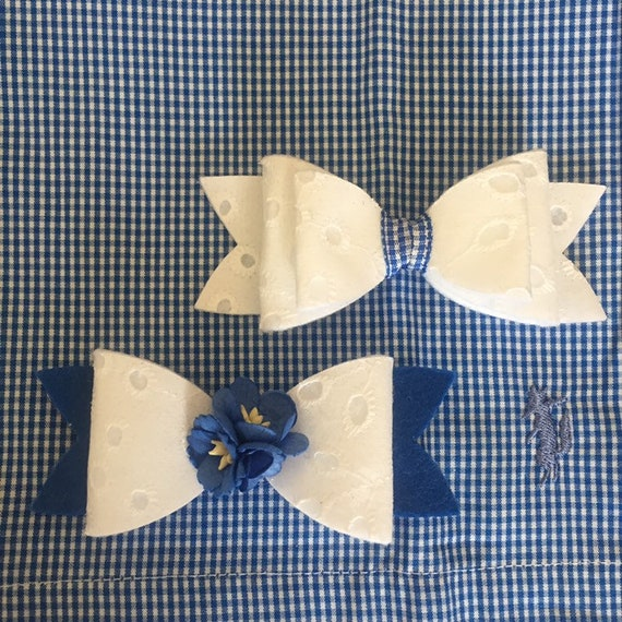 M2m Naomi Blue Microcheck Eyelet Fabric Bows In 2 5 Or Etsy