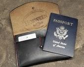 Family Passport Wallet - Premium Black Horween Chromexcel Leather Wallet, Passport Case, Travel Case