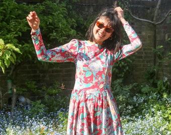Vintage 80s Laura Ashley Floral Midi Dress