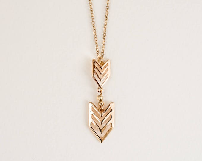 Featured listing image: Gold Chevron Necklace | Gold Arrow | Clearance Sale | Costume Jewelry | Minimalist Jewelry | Layering Necklace | Layered Gold Arrow