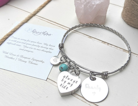 Always In My Heart Cremation Urn | Memorial Gift | Sympathy | Loss of Mother | Urn Jewelry | Loss of Dad | Bangle Bracelet | Charm Bracelet